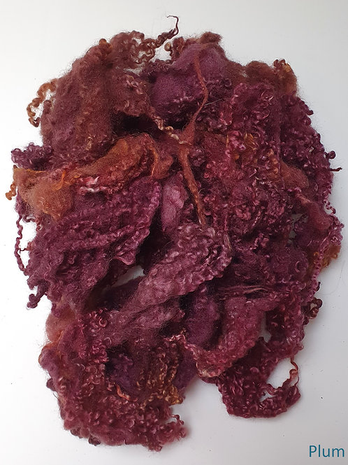 Hand-dyed Bluefaced Leicester Fleece 10g packs - Plum