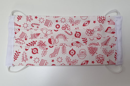 Cotton Face Mask - White Red Christmas