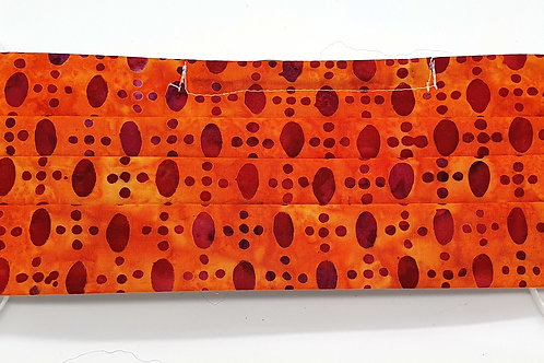 Cotton Face Mask - Orange Red Dots