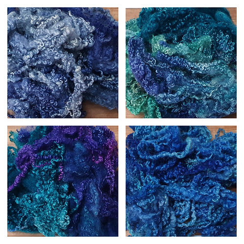 Hand-dyed Bluefaced Leicester Fleece 20g packs - Blue, Purple and Green