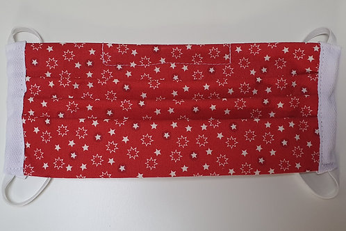 Cotton Face Mask - Red White Stars