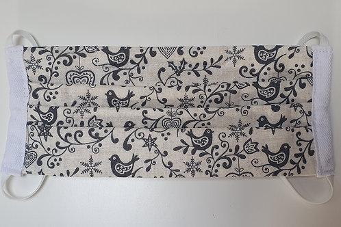 Cotton Face Mask - White Grey Birds