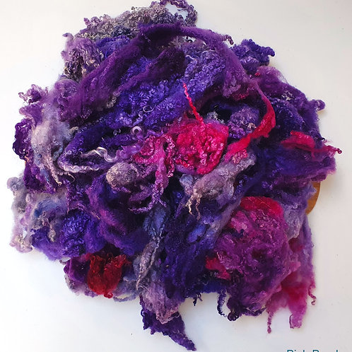 Hand-dyed Bluefaced Leicester Fleece 20g packs - Purple and Pink
