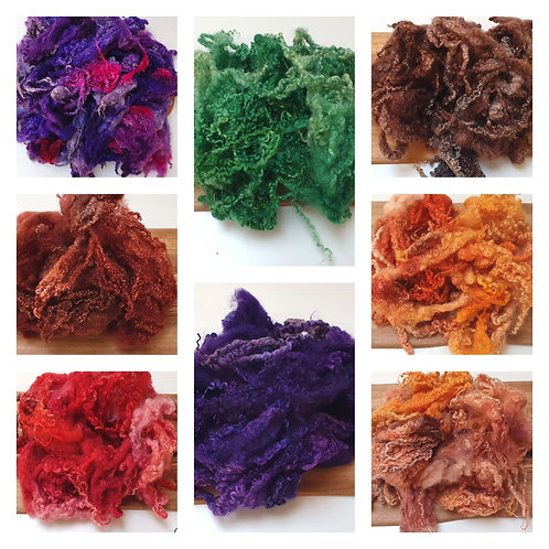 Hand-dyed Bluefaced Leicester Fleece 20g packs - Mixed
