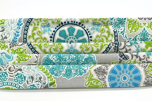 Cotton Face Mask - Blue and Green Tile