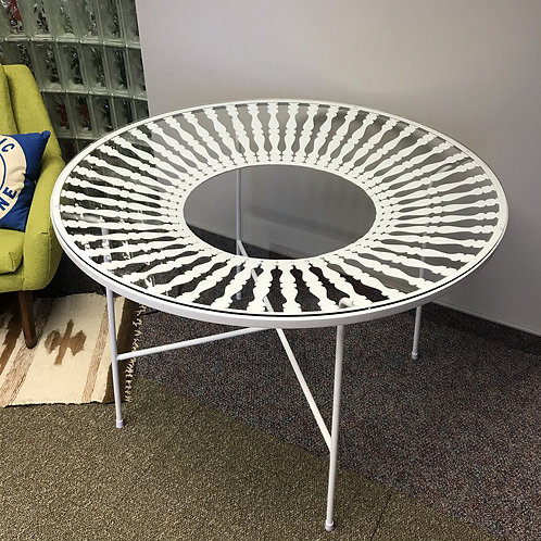 White Metal and Glass Dining Table | Arthur Umanoff