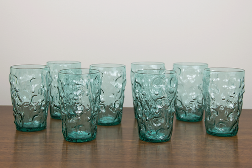 Set of 8 Rippled Aqua Drinking Glasses
