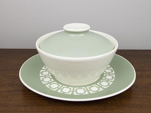 "Harkerware ""Persian Key"" Stoneware Casserole with Platter"