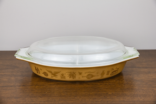 "Pyrex ""Early American"" Divided Dish"