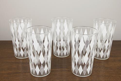 White Harlequin Diamond Glass Tumblers - Set of 5