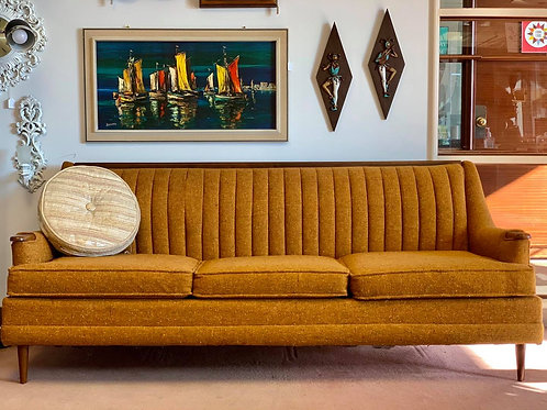 Upholstered Gold Sofa with Walnut Accents