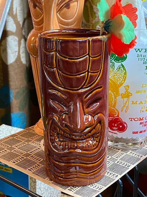 Brown Happy Face Tiki Mug Glass