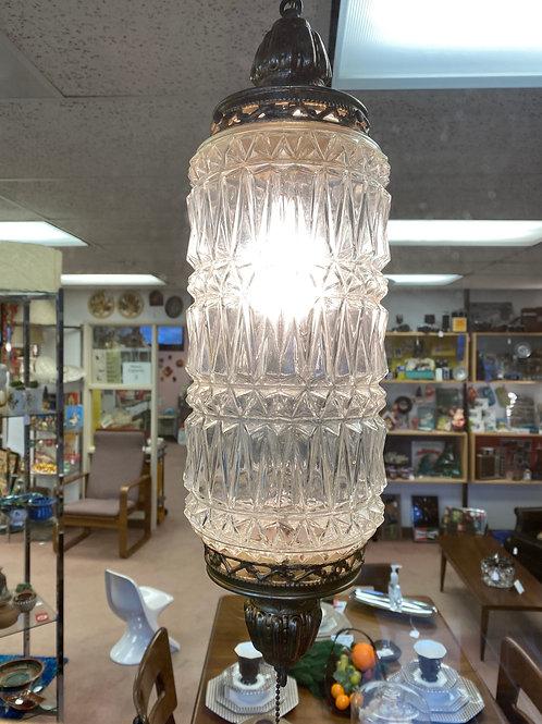 Clear Cut Glass Swag Lamp