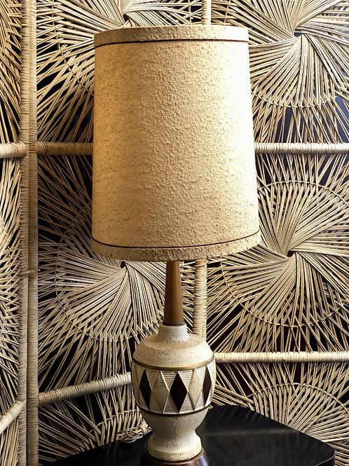 Ceramic and wood Diamond Table Lamp