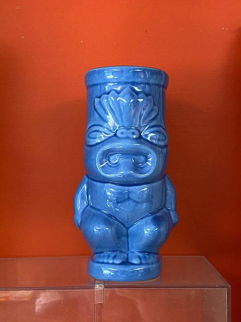 Blue Tiki God Mug Glass