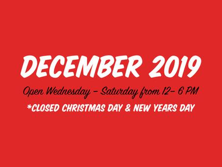 December Hours & Updates