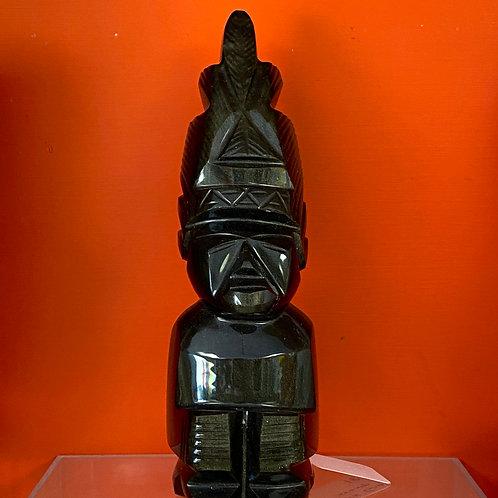Obsidian Stone Mayan Mexican God
