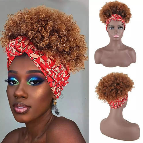 Afro puff curly headband wig