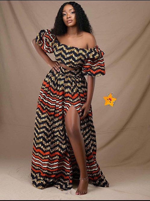 Ankara crop top & high waist skirt set