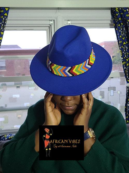 Hand beaded fedora hat