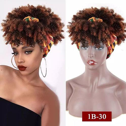 Afro puff turban wig with kente fabric