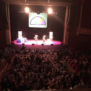 Balcony shot of Anti-Bullying Program Bee True To You performing at Bergen Pac Mainstage