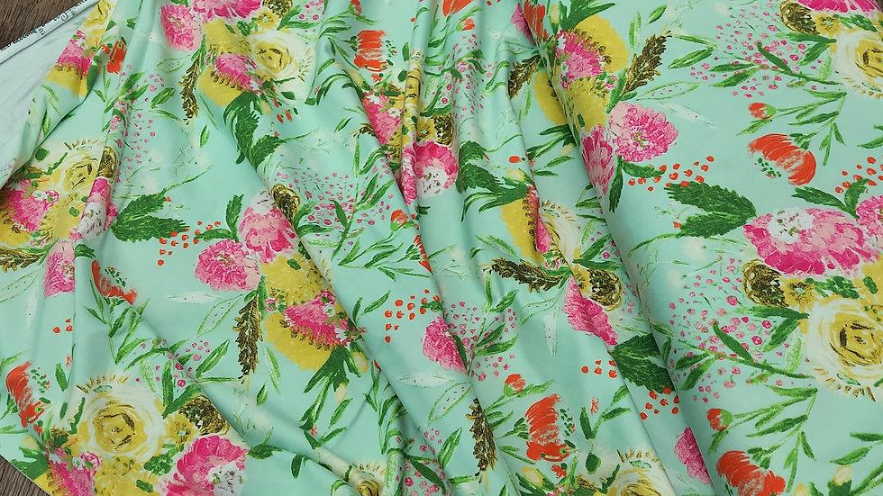 Art Gallery Fabrics Knit: Wild Bloom - Summer Bouquet Clear K-12032