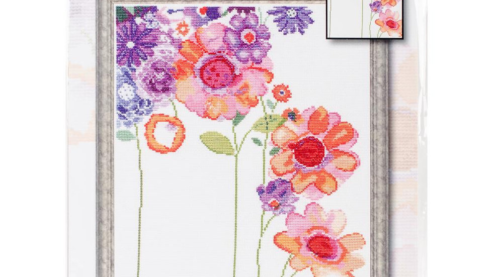 """Watercolor Garden Design Works Counted Cross Stitch Kit 11""""X14 (14 Count)"""