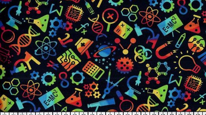 Timeless Treasures Rainbow Science- Black C7435