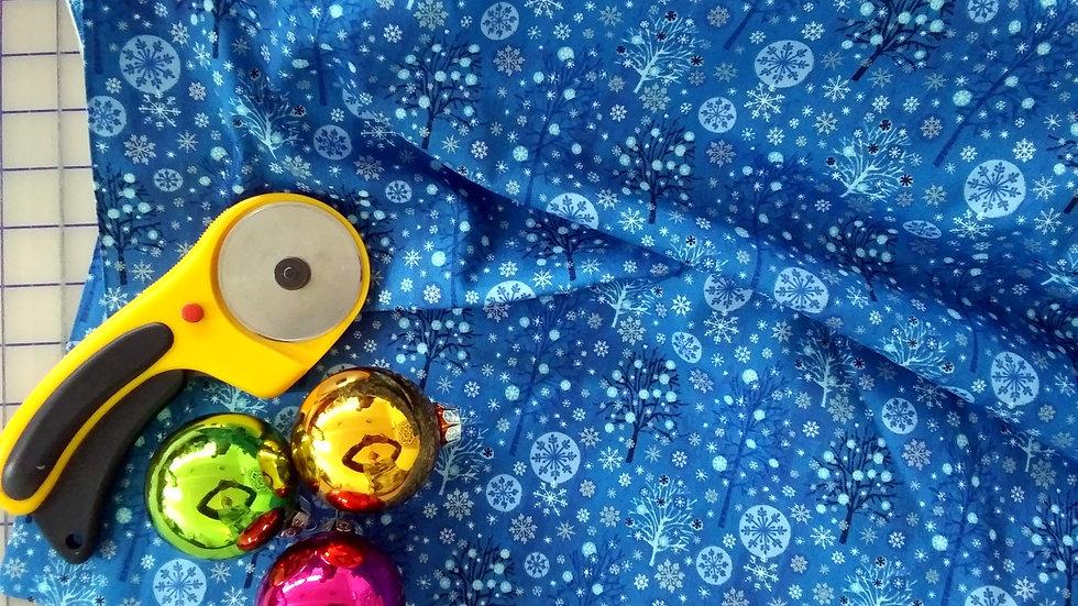 PBS Fabric Christmas Trees Blue 103-71220