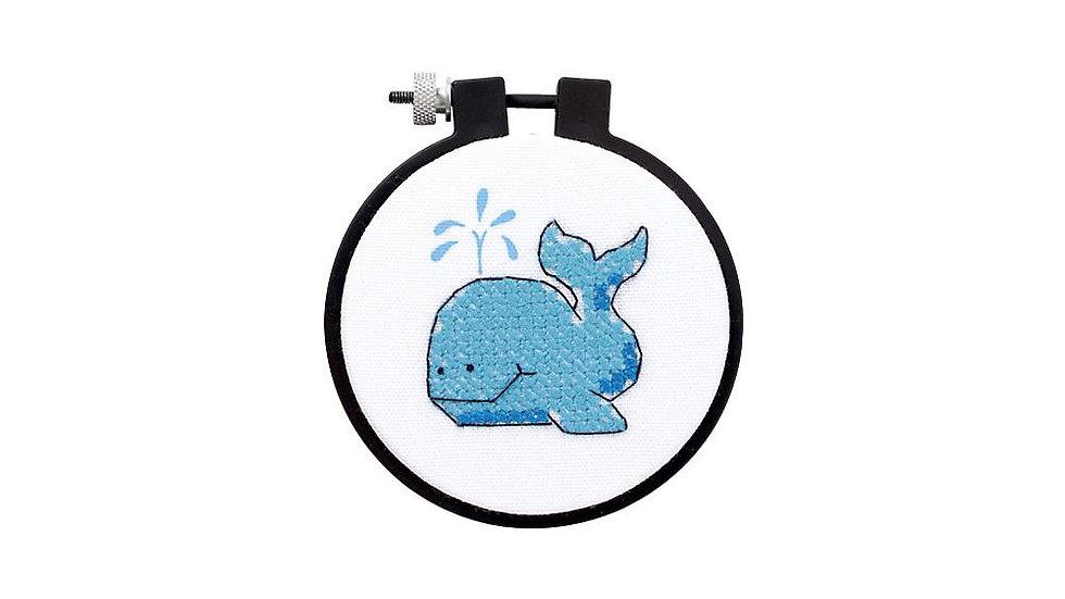 "Whale Stamped Cross Stitch 3"""