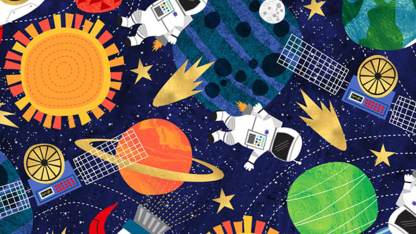 Timeless Treasures- Astronauts in Space C7432 Multi