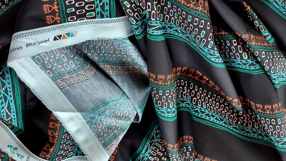 Art Gallery Premium Cotton- Spirited, Embellished Threads Deep