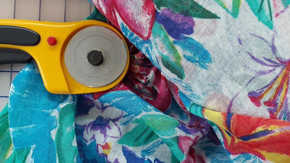 Blue Floral Tropical Gauze Print Woven Cotton Fabric