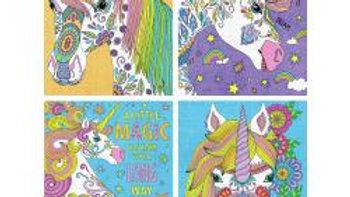 "Unicorn Magic Pencil Works Color By Number Kit 9""X12"" 4/Pkg"