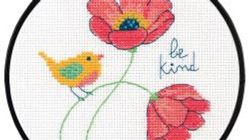 """Be Kind Dimensions Counted Cross Stitch Kit 6"""" Round  (14 Count)"""