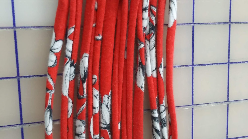 Earloops for Mask Making- Red with Black and White Flowers