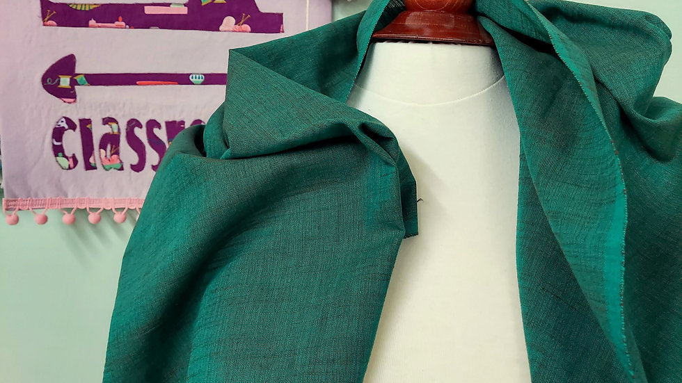 Textile Creations: Ace of Slubs Teal Brown Slub Woven Fabric 008
