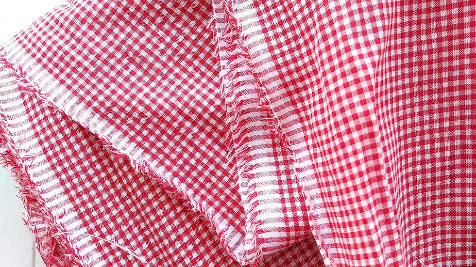 Red and White Mini Gingham Check Fine Cotton Voile Fabric