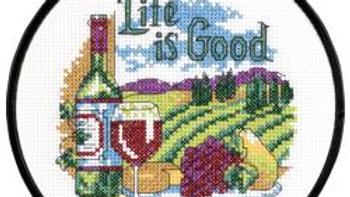 "Life Is Good Dimensions Counted Cross Stitch Kit 6"" Round (14 Count)"