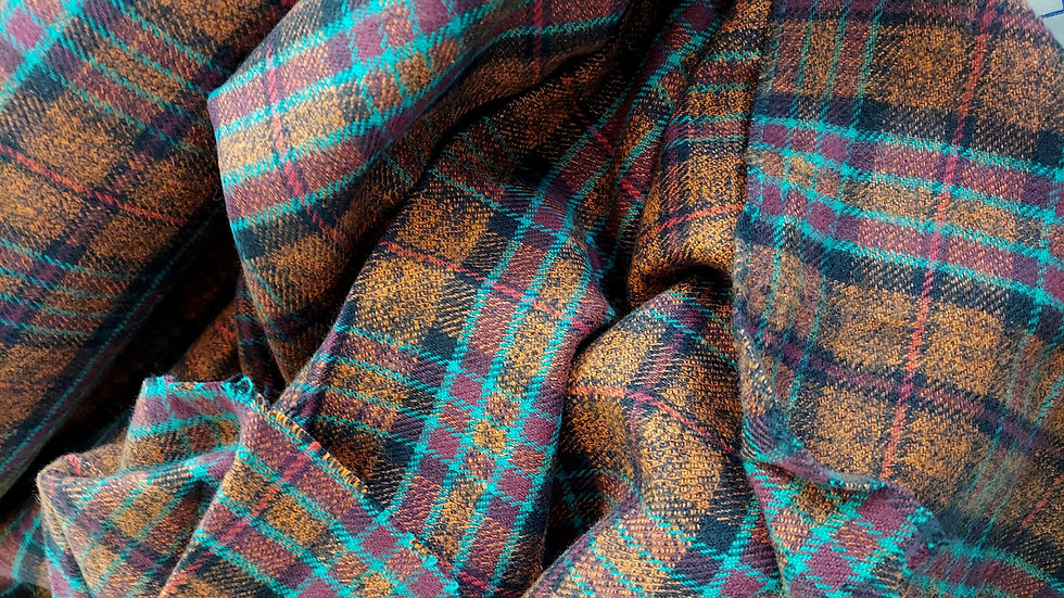 Textile Creations: Vancouver Flannel Plaid Brown, Orange, Teal VNC 006