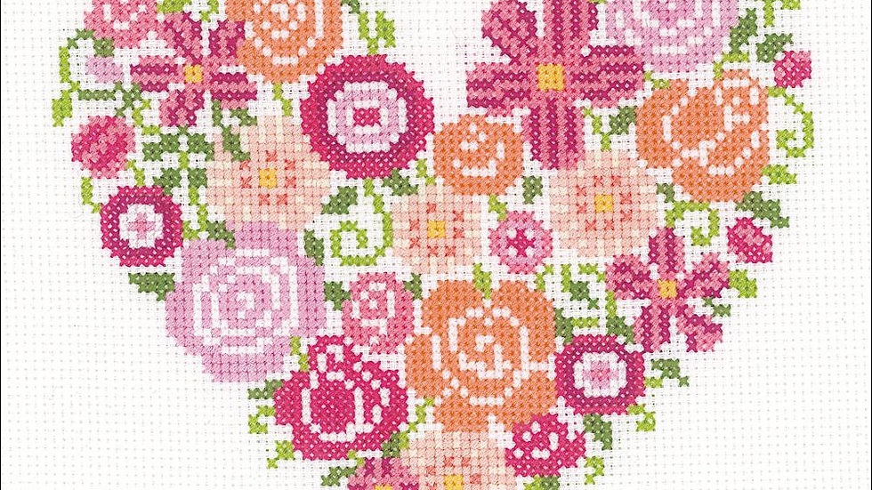 "Floral Heart Vervaco Counted Cross Stitch Kit 7.25""X6.75"" (14 Count)"