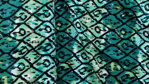 Green Africanna Rayon Challis Print Woven Fabric