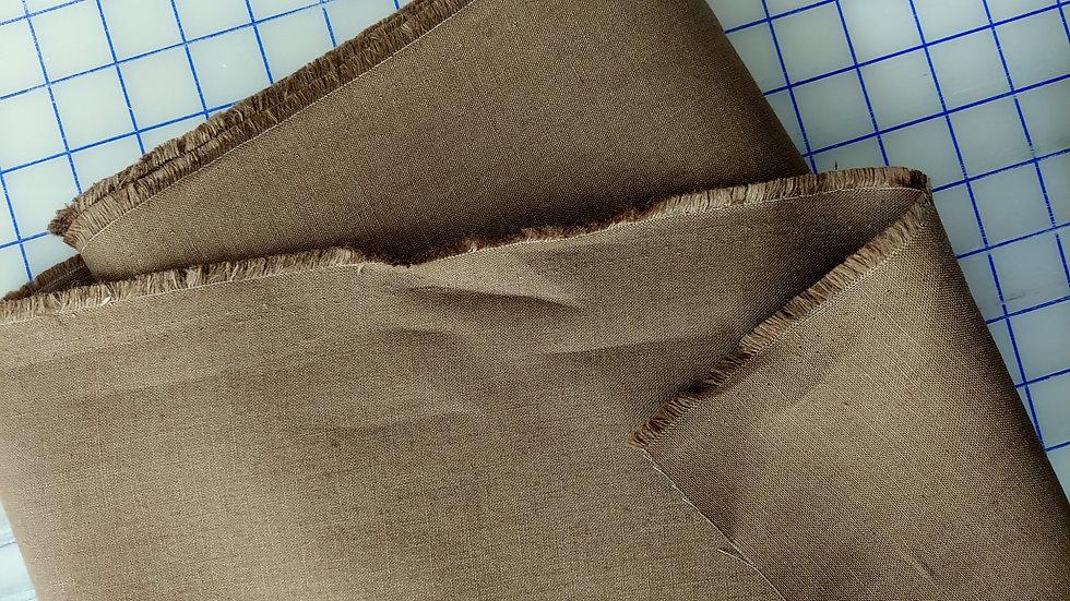 Fine Irish Moygashel Linen Woven Fabric Frappuccino Brown