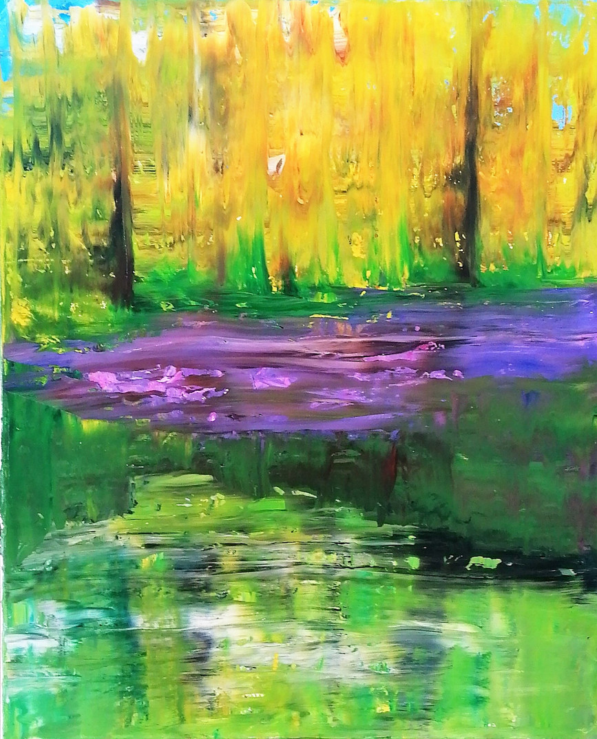 'Bluebells and Pond'