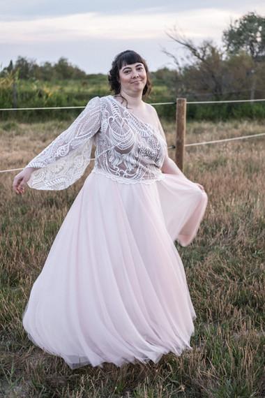 Robe de mariée rose poudré