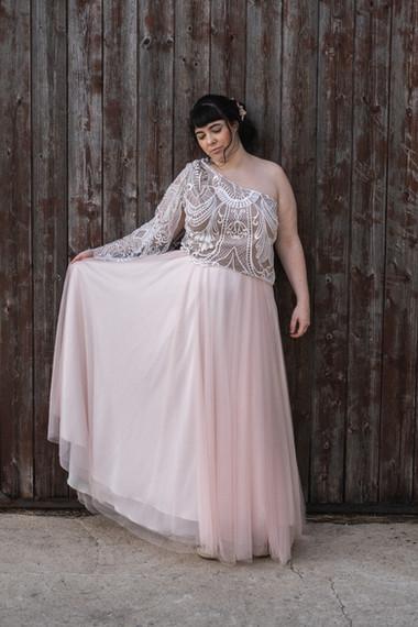 robe de mariée en tulle rose poudré
