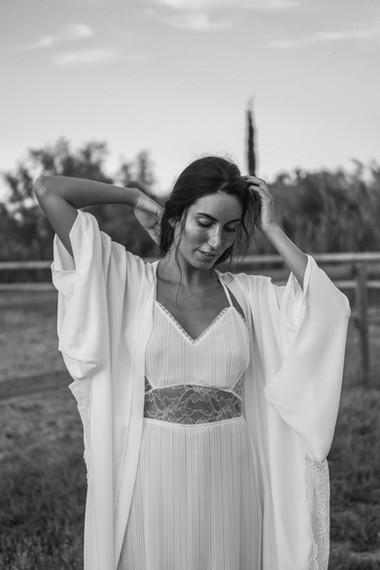 Robe de mariée kimono en crêpe