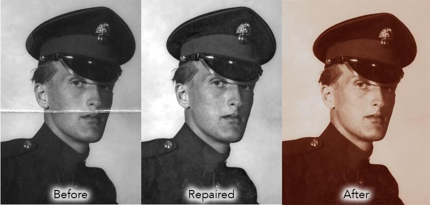 repair folded photograph
