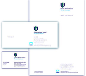 School stationery, letterhead, compliments slips, business card design